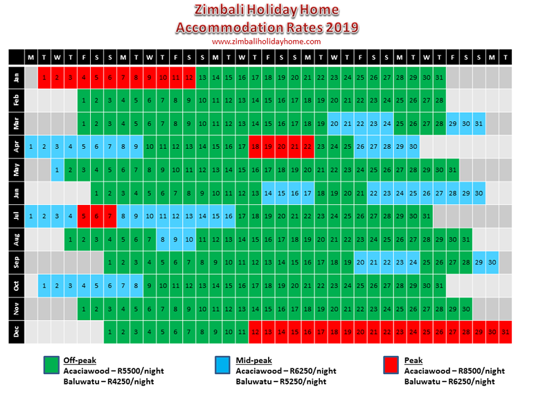 Zimbali Holiday Home accommodation rates for 2019